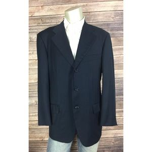 Navy 3 Button Blazer Loro Piana